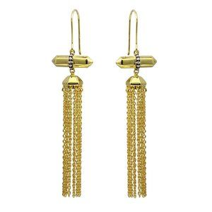 Silver 925 Gold Plated Tassel Earrings with CZ